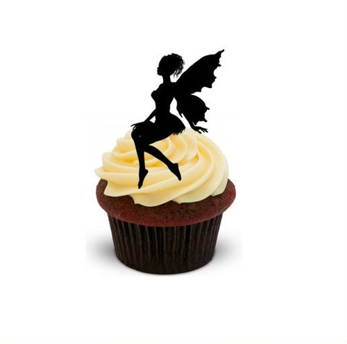 FAIRY (SITTING) SILHOUETTE  -   Standups 12 Edible Standup Premium Wafer Cake Toppers