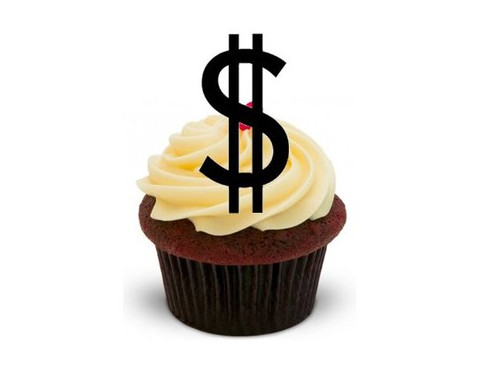 DOLLAR SIGN SILHOUETTE - Standups 12 Edible Standup Premium Wafer Cake Toppers