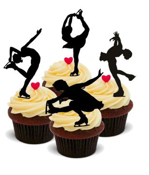 SILHOUETTE ICE SKATER MIX  -   Standups 12 Edible Standup Premium Wafer Cake Toppers