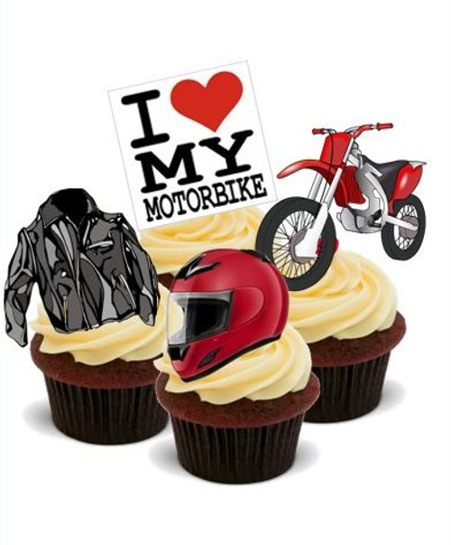 MOTORBIKE MIX  -   Standups 12 Edible Standup Premium Wafer Cake Toppers