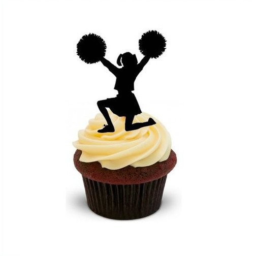 CHEERLEADER SILHOUETTE  -   Standups 12 Edible Standup Premium Wafer Cake Toppers