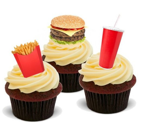 FAST FOOD MIX - Standups 12 Edible Standup Premium Wafer Cake Toppers