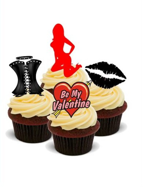 NAUGHTY/SEXY VALENTINES MIX -   Standups 12 Edible Standup Premium Wafer Cake Toppers