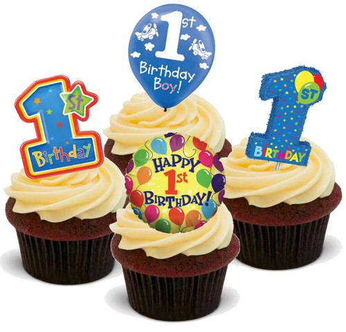 1ST BIRTHDAY BABY BOY MIX -   12 Edible Stand Up Premium Wafer Cake Toppers