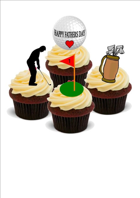 HAPPY FATHERS DAY GOLF GOLFING GOLFER MIX  -   Standups 12 Edible Standup Premium Wafer Cake Toppers