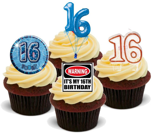 16TH BIRTHDAY BLUE BOY MIX  - Standups 12 Edible Stand Up Premium Wafer Cake Toppers