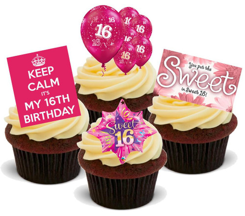 16TH BIRTHDAY PINK GIRL MIX  - Standups 12 Edible Stand Up Premium Wafer Cake Toppers