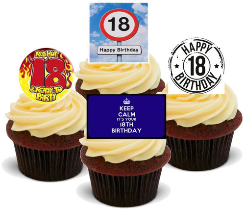 18TH BIRTHDAY BLUE BOY MIX  - Standups 12 Edible Stand Up Premium Wafer Cake Toppers