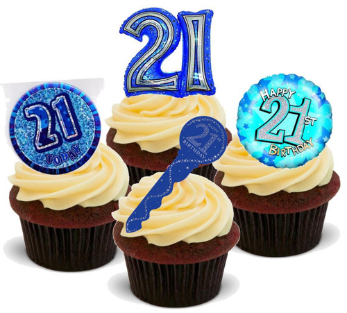 21ST BIRTHDAY BLUE  MIX  - Standups 12 Edible Stand Up Premium Wafer Cake Toppers