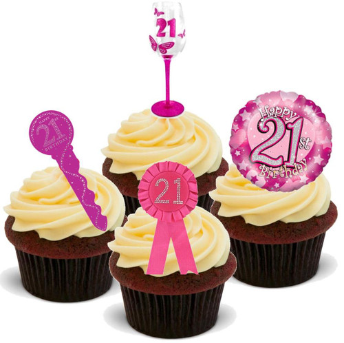 21ST BIRTHDAY PINK  MIX  - Standups 12 Edible Stand Up Premium Wafer Cake Toppers