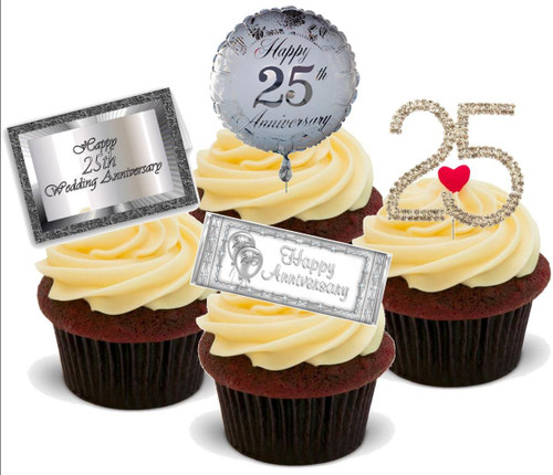 25TH ANNIVERSARY MIX  - Standups 12 Edible Stand Up Premium Wafer Cake Toppers