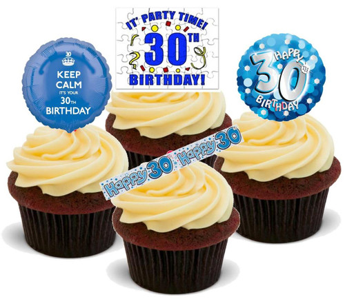 30TH MALE BLUE BIRTHDAY MIX  - Standups 12 Edible Stand Up Premium Wafer Cake Toppers