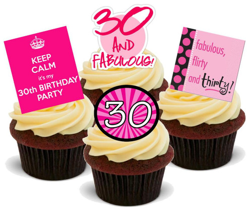30TH FEMALE PINK BIRTHDAY MIX  - Standups 12 Edible Stand Up Premium Wafer Cake Toppers