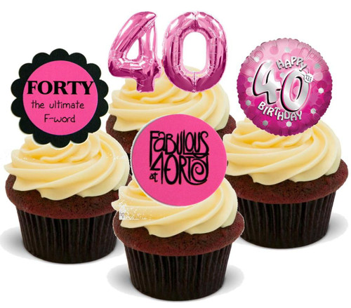 40TH FEMALE PINK BIRTHDAY MIX  - Standups 12 Edible Stand Up Premium Wafer Cake Toppers