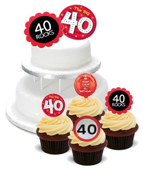 40 ROCKS MALE FEMALE BIRTHDAY MIX  - Standups 12 Edible Stand Up Premium Wafer Cake Toppers