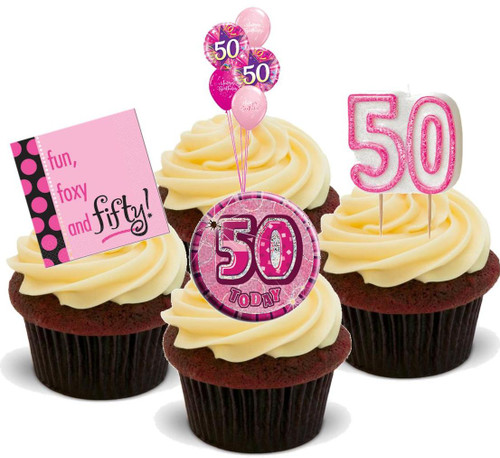 50TH FEMALE PINK BIRTHDAY MIX  - Standups 12 Edible Stand Up Premium Wafer Cake Toppers