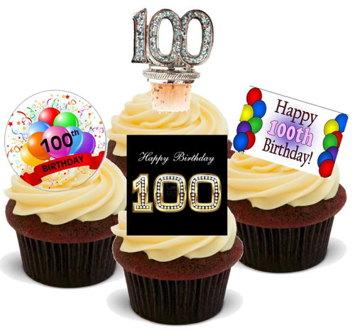 100TH BRIGHT BIRTHDAY MIX  - Standups 12 Edible Stand Up Premium Wafer Cake Toppers
