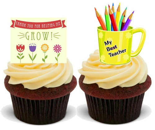 BEST TEACHER MIX DUO.. 12 Edible Standup Premium Wafer Cake Toppers