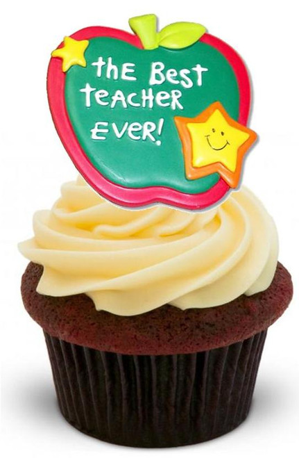 BEST TEACH EVER Apple.. 12 Edible Standup Premium Wafer Cake Toppers