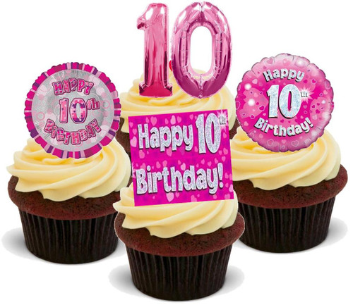 10TH BIRTHDAY PINK GIRL MIX - 12 Edible Stand Up Premium Wafer Cake Toppers