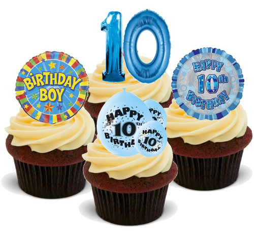 10TH BIRTHDAY BLUE BOY MIX - 12 Edible Stand Up Premium Wafer Cake Toppers