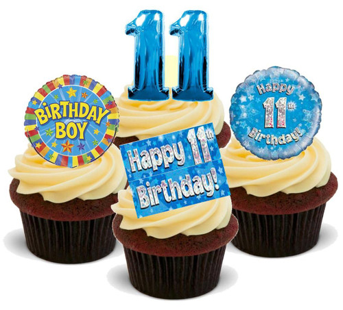 11TH BIRTHDAY BLUE BOY MIX - 12 Edible Stand Up Premium Wafer Cake Toppers