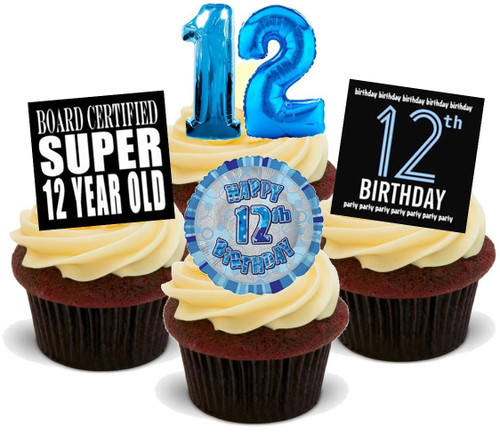 12TH BIRTHDAY BLUE BOY MIX - 12 Edible Stand Up Premium Wafer Cake Toppers