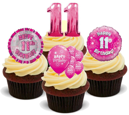 11TH BIRTHDAY PINK GIRL MIX - 12 Edible Stand Up Premium Wafer Cake Toppers