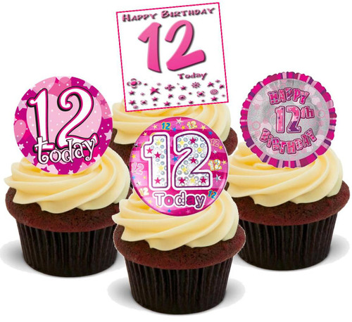 12TH BIRTHDAY PINK GIRL MIX - 12 Edible Stand Up Premium Wafer Cake Toppers