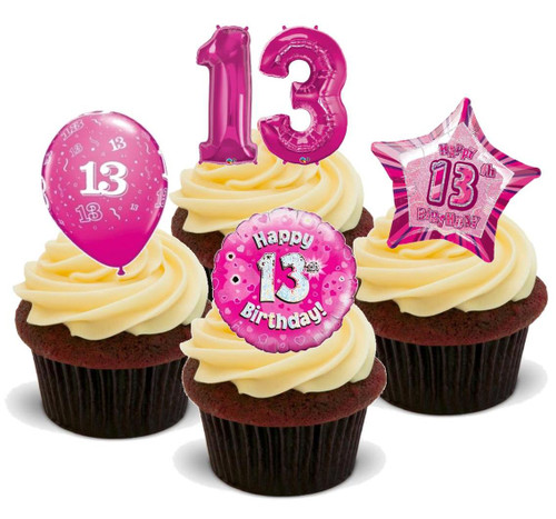 13TH BIRTHDAY PINK GIRL MIX - 12 Edible Stand Up Premium Wafer Cake Toppers