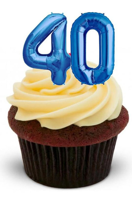 40TH BIRTHDAY BLUE BALLOONS - 12 Edible Stand Up Premium Wafer Cake Toppers