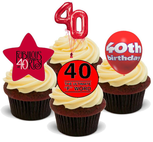 40TH BIRTHDAY RED MIX - 12 Edible Stand Up Premium Wafer Cake Toppers