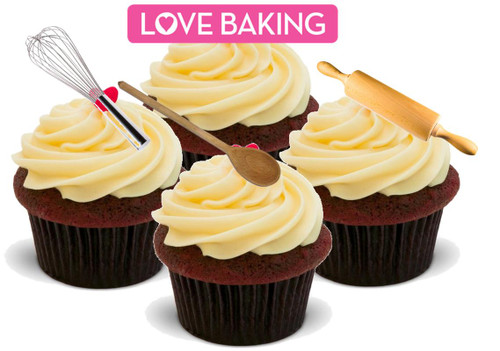 BAKING BAKERS MIX - 12 Edible Stand Up Premium Wafer Cake Toppers