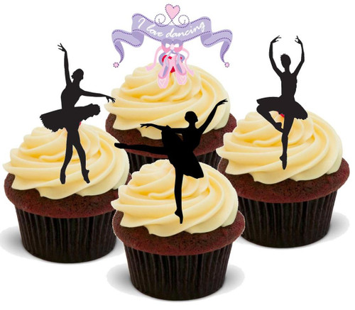 BALLET DANCER MIX - 12 Edible Stand Up Premium Wafer Cake Toppers