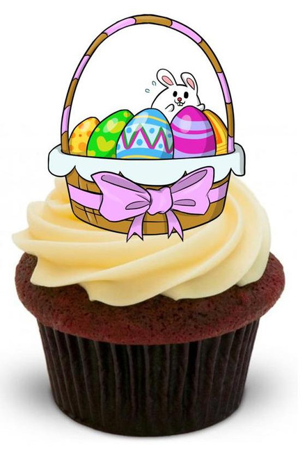 EASTER BASKET 1 - 12 Edible Stand Up Premium Wafer Cake Toppers