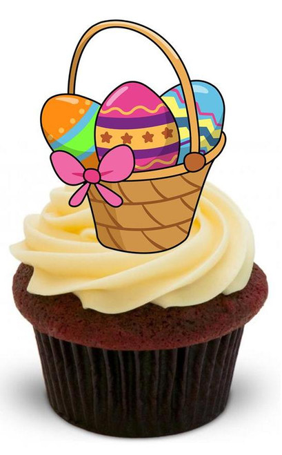 EASTER BASKET 2 - 12 Edible Stand Up Premium Wafer Cake Toppers