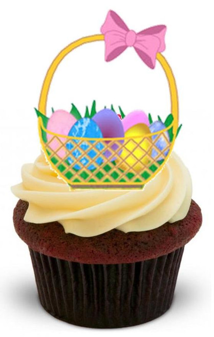 EASTER BASKET 3 - 12 Edible Stand Up Premium Wafer Cake Toppers