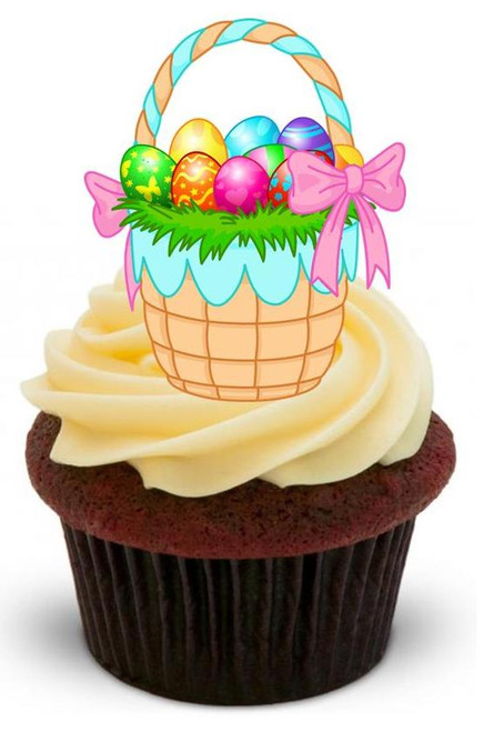 EASTER BASKET - 12 Edible Stand Up Premium Wafer Cake Toppers