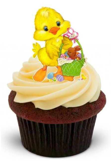 EASTER CHICK - 12 Edible Stand Up Premium Wafer Cake Toppers