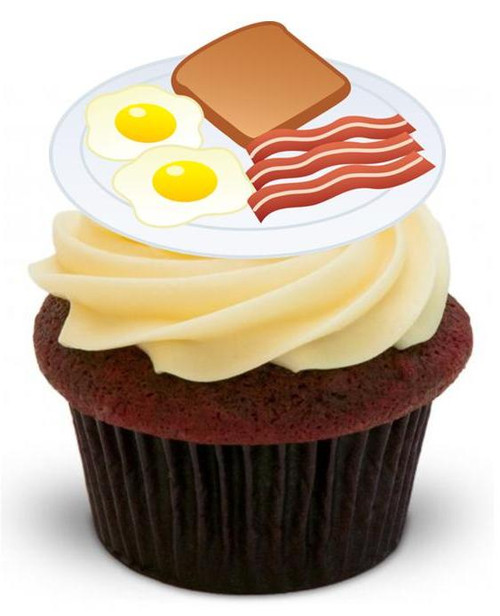 FRY UP - 12 Edible Stand Up Premium Wafer Cake Toppers