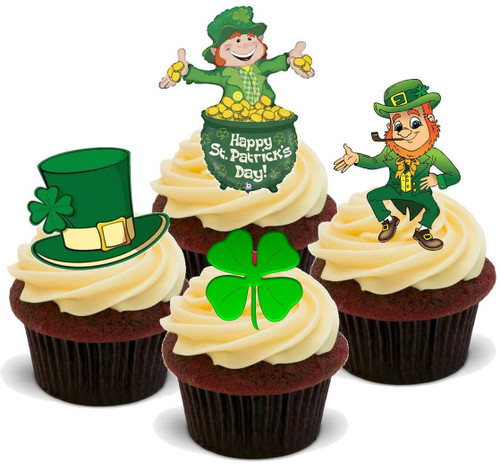 ST PATRICKS DAY MIX 1 - 12 Edible Stand Up Premium Wafer Cake Toppers