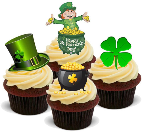 ST PATRICKS DAY MIX 2 - 12 Edible Stand Up Premium Wafer Cake Toppers