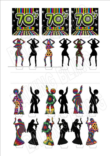 70'S DISCO MIX 21 PIECE NEW - 12 Edible Stand Up Premium Wafer Cake Toppers