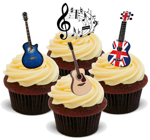 ACOUSTIC GUITAR MIX WITH MUSIC NOTES - 12 Edible Stand Up Premium Wafer Cake Toppers