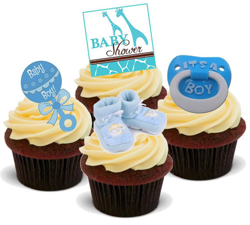 BABY SHOWER BOY BLUE MIX - 12 Edible Stand Up Premium Wafer Cake Toppers