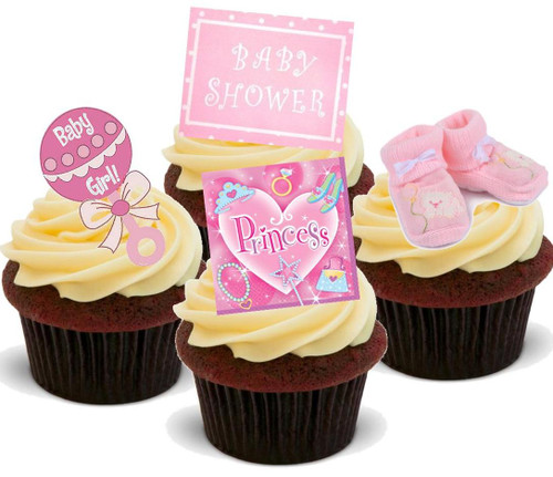 BABY SHOWER GIRL PINK MIX - 12 Edible Stand Up Premium Wafer Cake Toppers