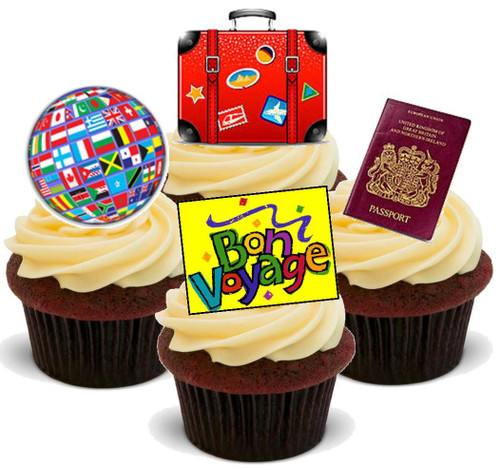 BON VOYAGE MIX - 12 Edible Stand Up Premium Wafer Cake Toppers