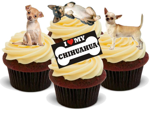 CHIHUAHUA MIX - 12 Edible Stand Up Premium Wafer Cake Toppers