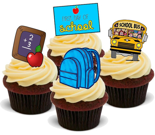 1ST DAY AT SCHOOL BOY MIX - 12 Edible Stand Up Premium Wafer Cake Toppers