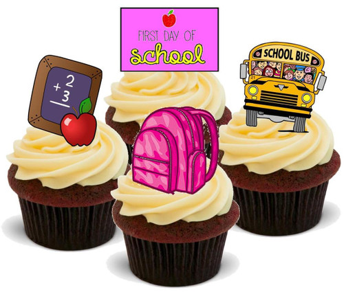 1ST DAY AT SCHOOL GIRL MIX - 12 Edible Stand Up Premium Wafer Cake Toppers